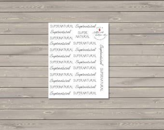 Supernatural Script Stickers
