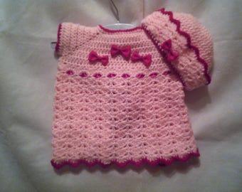Crochet Preemie Baby Dress & Hat