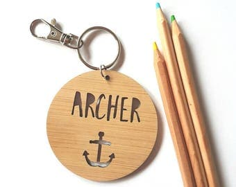 Bag Tag / Keyring Wood Bamboo Personalised Custom - Anchor-Nautical-sailor-ocean-school-kinder-wooden-school bag-bamboo