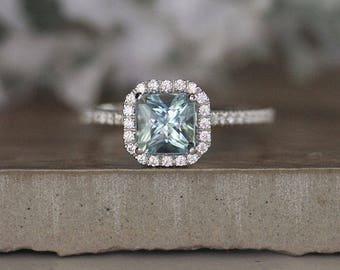 Princess Cut 6mm Natural Aquamarine Engagement Ring, 14k White Gold Aquamarine and Diamond Halo Ring, Bridal Ring, White Gold Wedding Ring