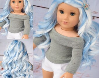 "Custom Doll Wig for 18"" Dolls American Girl Doll Heat Safe - Tangle Resistant - Wig cap 11"" GOTZ Journey Girls My Life Our Generation Blue"