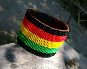 Hand beaded Rastafarian 9 inch cuff bracelet,beaded Bracletes,cuff bracelets,bracletes,rastapharian Jewerly