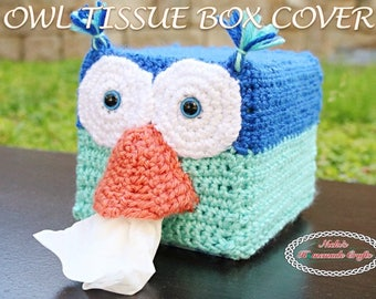CROCHET PATTERN Owl Tissue Box Cover *easy *fast *cool *animal *cute *adorable *kids *decoration