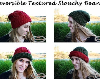 Crochet Pattern: Reversible Textured Slouchy Beanie *christmas *adult *winter *hat *pom-pom *ribbing *horizontal *vertical