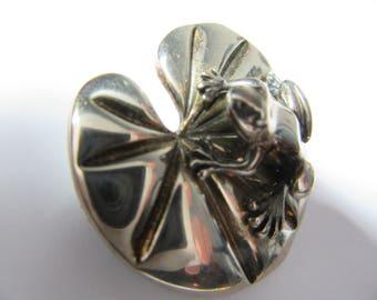 Silver brooch,, frog on Lily Leaf,,