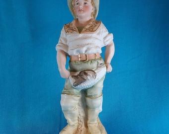 Vintage Fishing Boy Gilded Figurine