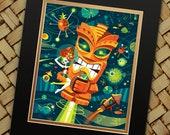 Tiki Planet, Jeff Granito, Tiki, Outer Space, Rocket Print, Tiki Bar, Hula Girl, Under the Sea, Luau Decor, Hawaiian Party Favor, Planets