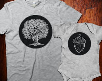 Oak tree and acorn tshirt set, father daughter, father son matching tshirts, dad and baby matching shirts, Mommy and Me Shirts, New Dad Gift