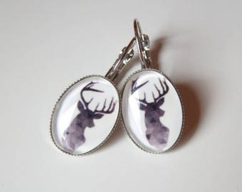 earring cabochon black deer head