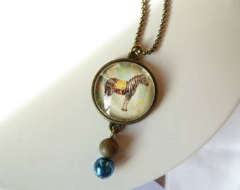 Circus Zebra necklace with pendant