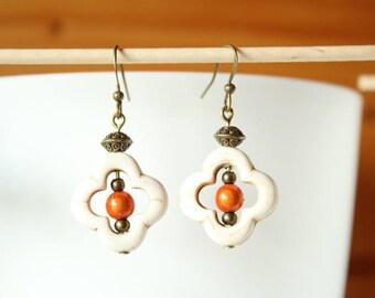 Orange flower in cream white howlite bead and magic Pearl Earrings
