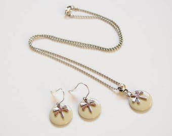 Adornment necklace and Earring Set cream beige sequins and silver Dragonfly woman or girl