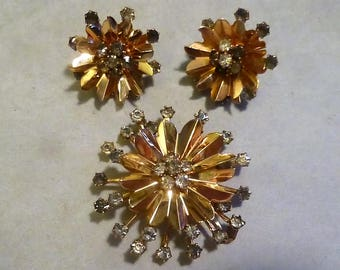 Vintage 12 KT Gold Filled Rhinestone Pin/Pendant and Earring Set