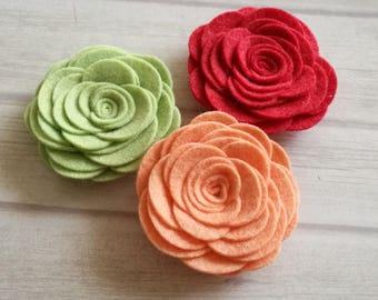 Peach Rose brooch, Peach flower brooch, wool felt green rose, Pastel green Rose headband for women, Strawberry Red Flower Hair clip