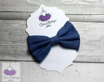 Denim Hair Clips, Bow Hair Clips, Lite Denim hair clip, Fabric bow, Hair bow