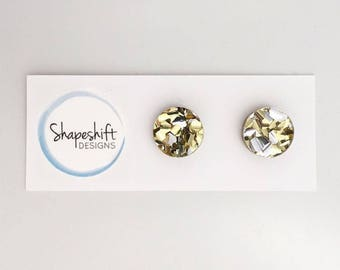 Chunky Mixed Gold & Silver Glitter Stud Earrings - Acrylic - Round 12mm
