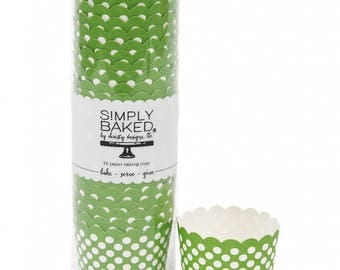 Greaseproof (25 qty), green baking cup, green baking cups, green cupcake liners, baking cups, green and white dots baking cups