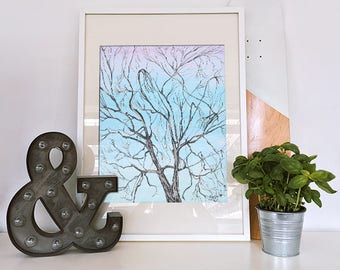 Cottage Chic Central Park Tree Giclee Print fine art blue decor white decor home or office