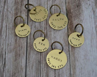 Hand Stamped Pet ID Tag // Brass // Custom Made // Dog Tag // Cat Tag // ID Tag // Dog Tag for Dogs // Pet Gift // Brass Gift //