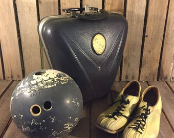 Vintage Bowling Bag with Ball and Shoes