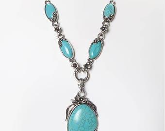 Antique Silver Tibet Turquoise Necklace Set