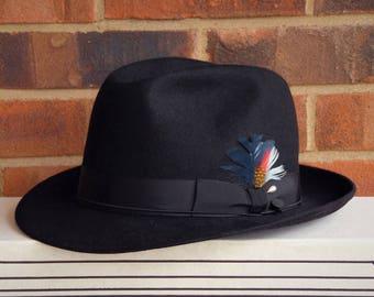 "Selentino Fur Felt Black Fedora - 1970s Vintage - With Levine Hats Box - 7-3/8"" Size Hat - Retro Formal Men's Accessory - in EX cond"