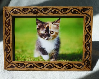 Wooden Photo Frame Vintage Style Wood Engraving Free Shipping Oak Kitten Handmade Gift