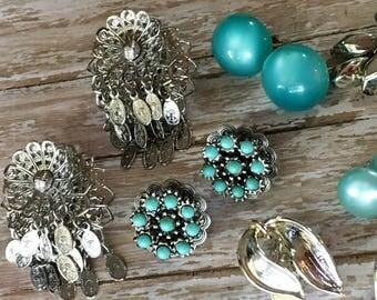 Turquoise Earring Lot Destash Silver Clip on 6 Pairs Screw Back Vintage Cluster Button Dangle Drop 1950's Repurpose Repair