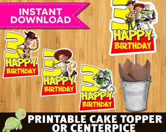 4 Toy Story Cake Topper - Toy Story Printable Cake topper - Toy Story Birthday-Toy Story Centerpieces - Toy Story 3rd Birthday Party