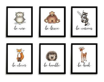 Nursery Print Set Woodland Nursery Animal Wall Art Set of 6 Nursery Wall Art Nursery Prints Animal Nursery Art Woodland Baby Woodland Animal