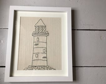 Free motion embroidery Lighthouse.  Sketch style to draw a simple lighthouse in this niave style  perfect Bespoke gift or home deco