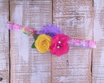 Spring Headband, Floral Baby Headband, Easter Headband, Shabby Chic Headband, Photo Prop, Baby Shower Gift