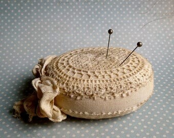 Pin Cushion pincushion Shabby Chic Oval gift for mom pincushions Pin Cushions Vintage Style Handmade Victorian romantic pin pillow mother