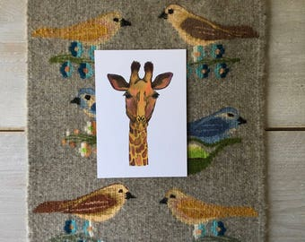 Giraffe postcard A5 with envelope - Print of my Handdrawn Illustration