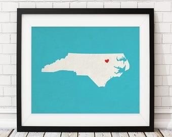 Custom North Carolina Art, Personalized NC State Art, Customized State Map Art, Heart Map Print, North Carolina Map, North Carolina Print