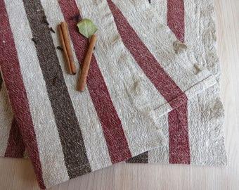 Linen placemats /  set of 4 linen placemats/ Brown Striped Placemats/ Rustic Placemats/ Striped placemats/