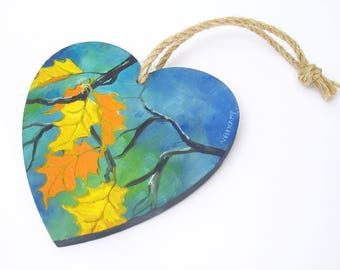 oil painting // wooden heart with autunm leaves // hand-painted decorative item