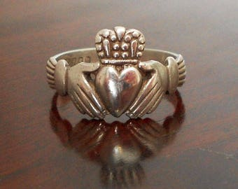 Vintage Irish Silver Claddagh Ring, Dublin Hallmarked Friendship Ring, 1970s