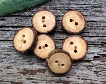 Small Bark-on Tamarack Buttons // Handmade Wood Buttons // Rustic Wooden Buttons // Set of 6 //