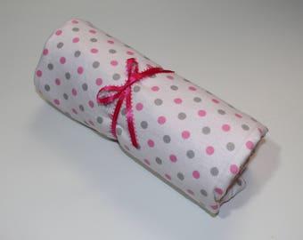 Pink & White Polka Dot Receiving/Toddler Blanket