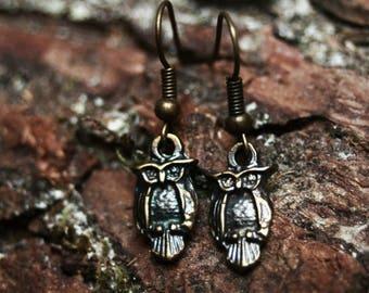 Owl earrings, owl jewelry, animal jewelry, bohemian jewelry, witchy jewelry, dark mori, spirit animal, boho jewelry