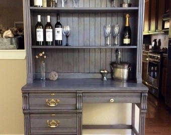 Hutch Desk Gray Wine Bar Student Farmhouse Kitchen China Cabinet Dining