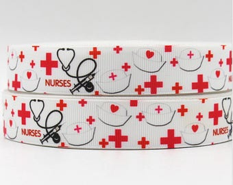 "Nurses Grosgrain 7/8"" Printed Ribbon"