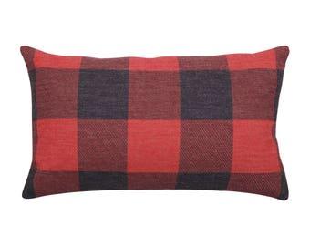 Buffalo Check lumbar pillow covers Plaid decorative pillow cases Ethnic waist cushion cover Rustic cushion case Home decor gift 12x20