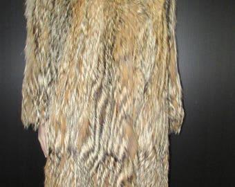 Vintage manteau de fourrure de renard des prairies aux  longues pointes/ Vintage  long tips prairie fox fur coat  SIZE  md  BUST 40
