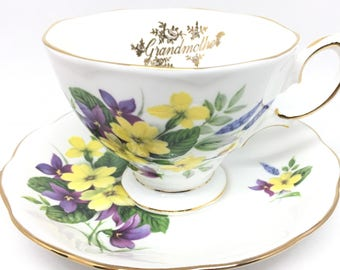 Royal Albert Grandmother Teacup and Saucer, Purple and Yellow Flowers, Gift for Her
