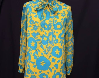 Vintage 60s Mod FLOWER POWER Linen and Sheer Sleeves Mustard Yellow and Blue Dress M