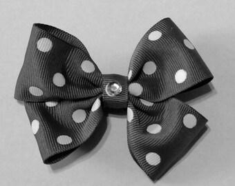 Grey Double Ruffle Bow