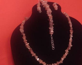 Peach moonstone with sterling silver jewelry set