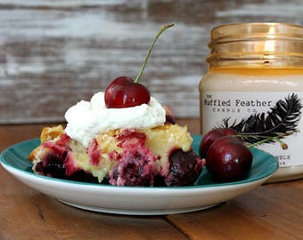 Cherry Cobbler Soy Candle, All Natural Soy Candle, 8oz, The Bakery @ The Ruffled Feather Candle Co.